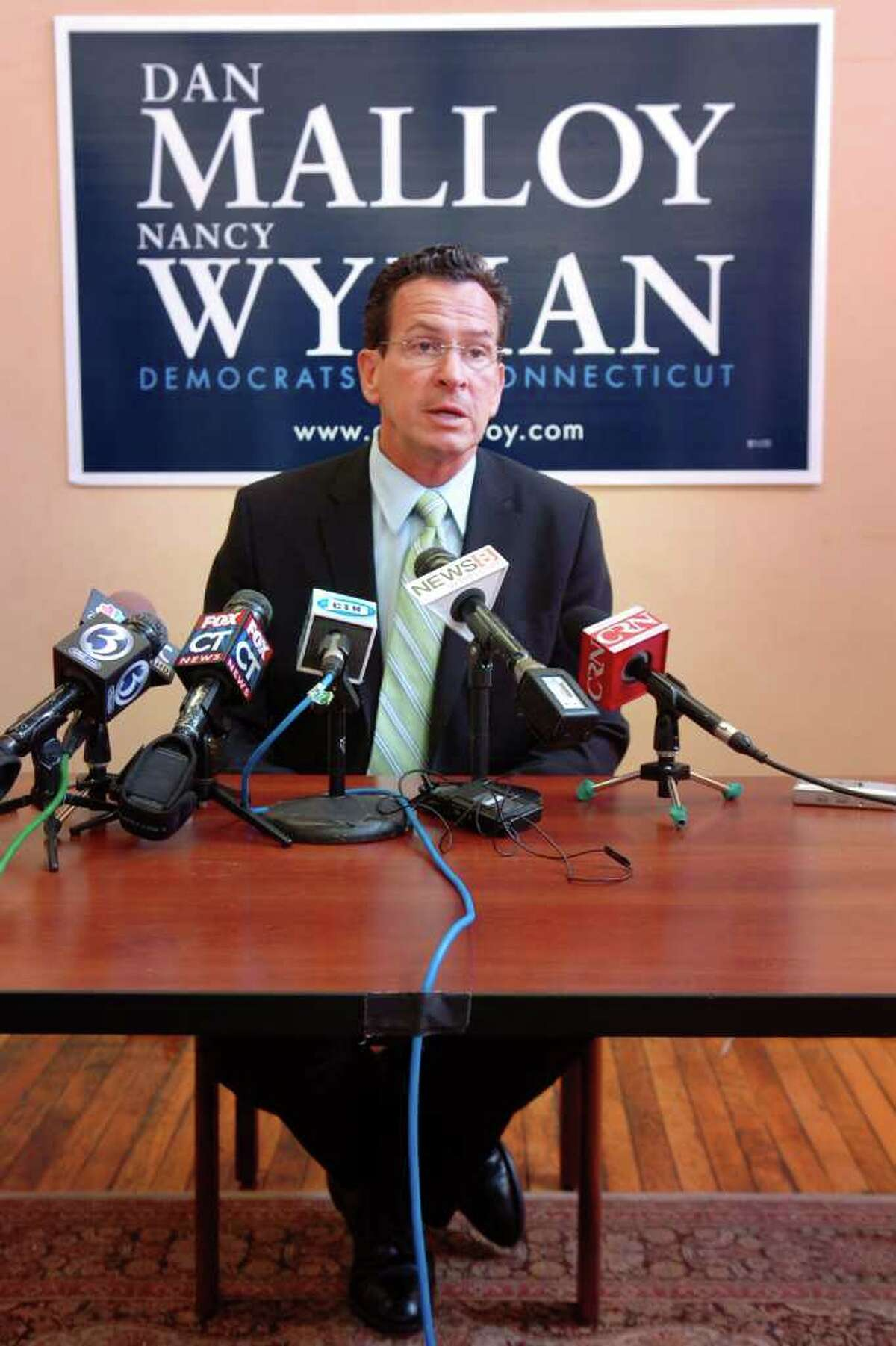 Democratic candidate for Governor Dan Malloy speaks during a press conference at his campaign headquarters, Hartford, Conn. Wed. Aug. 11th, 2010.
