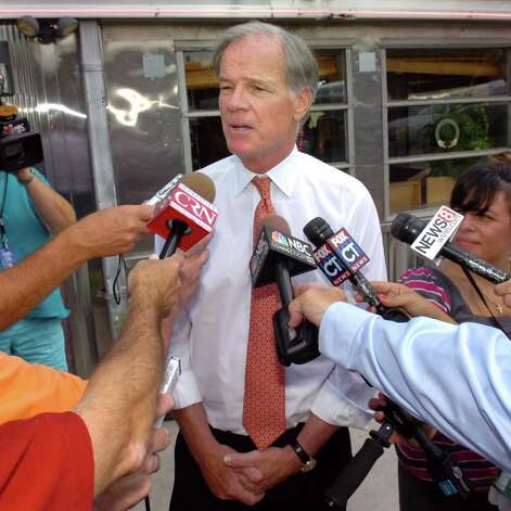 Republican candidate for Governor Tom Foley speaks to the media in front of O'Rourke's Diner, in Middletown, Conn. Wed. Aug. 11th, 2010. Photo: Ned Gerard / Connecticut Post
