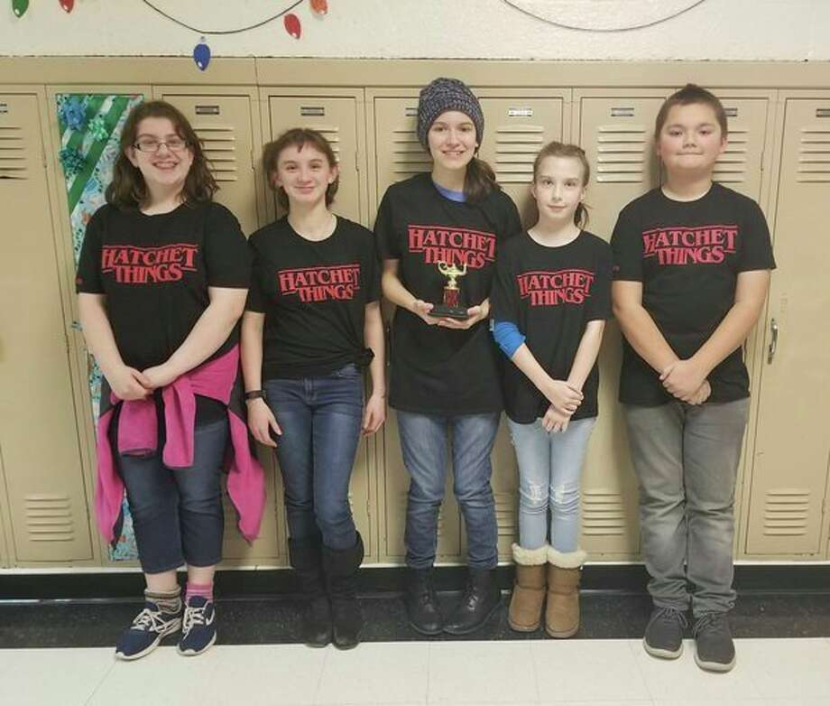 Three Bad Axe Middle School teams took part in the quiz bowl. Pictured is the Bad Axe Middle School team that came in second place with students Anikah Smith, Dakota Robles, Ellen Miller, Riley Vaerten and DJ Humpert. (Submitted Photo)