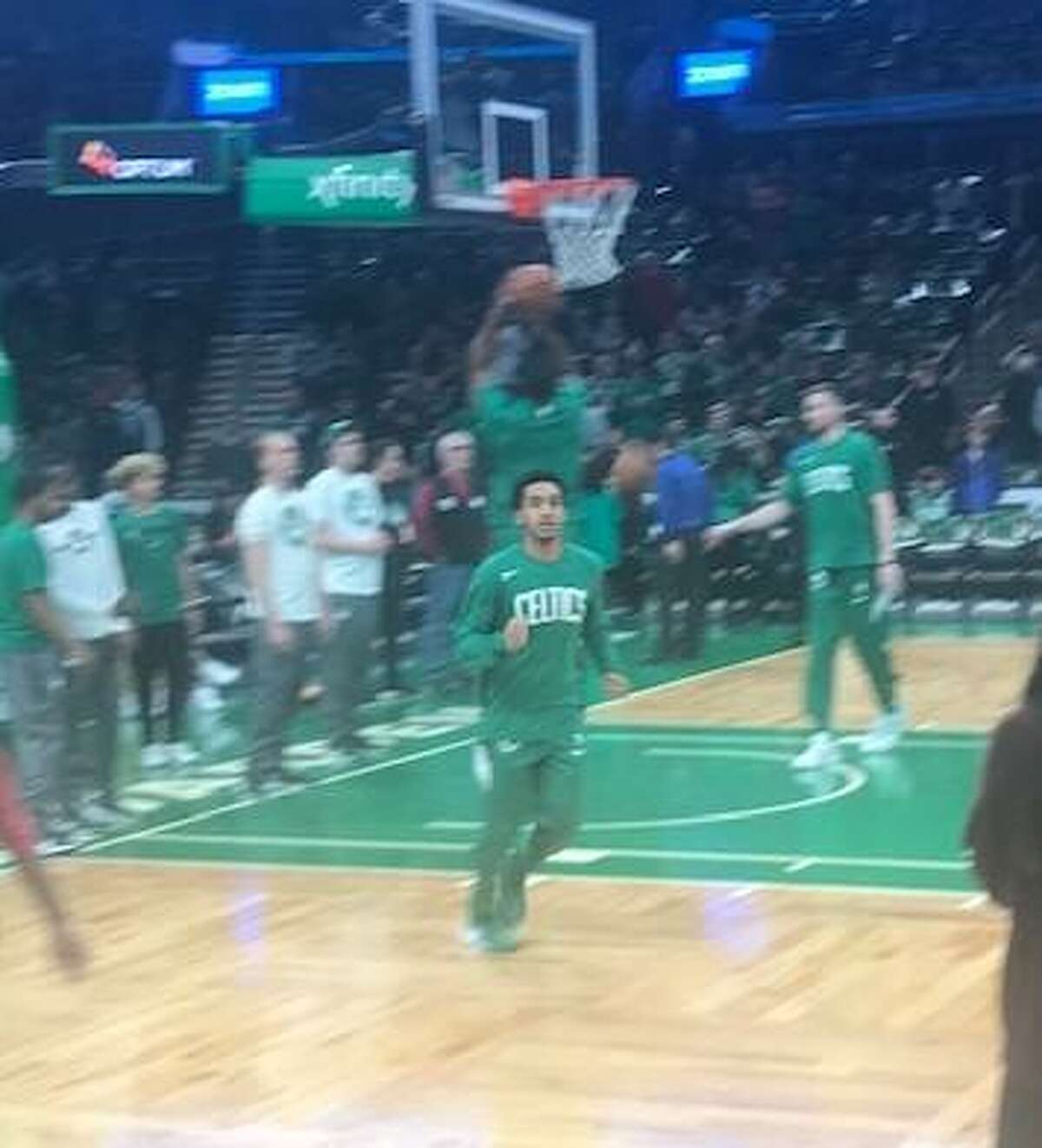 New Haven's Tremont Waters, during pregame layup drills prior to the Celtics' win over Cleveland on Friday at TD Banknorth Garden.