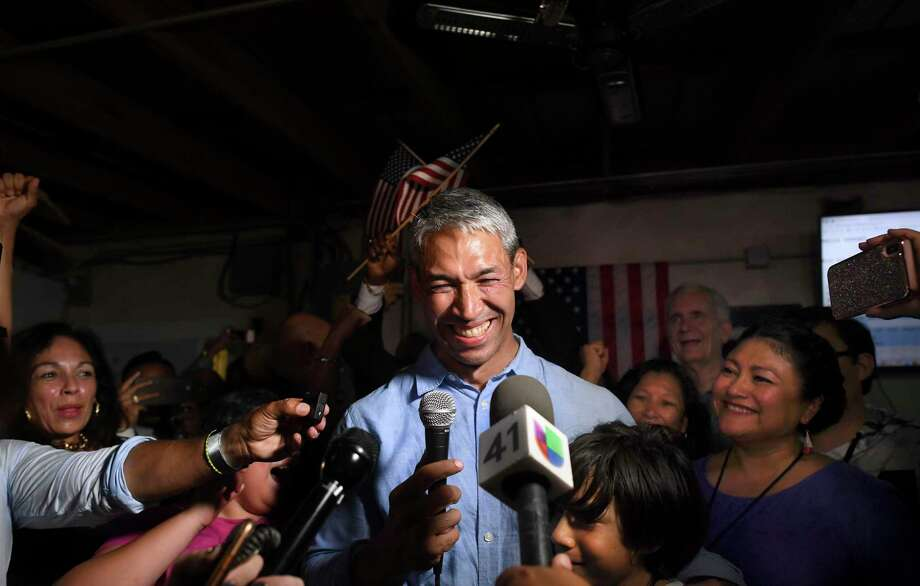 Incumbent San Antonio Mayor Ron Nirenberg smiles he speaks at The Friendly Spot to supporters after winning re-election against challenger Greg Brockhouse on Saturday, June 8, 2019. Photo: Billy Calzada, Staff / Staff Photographer / Billy Calzada