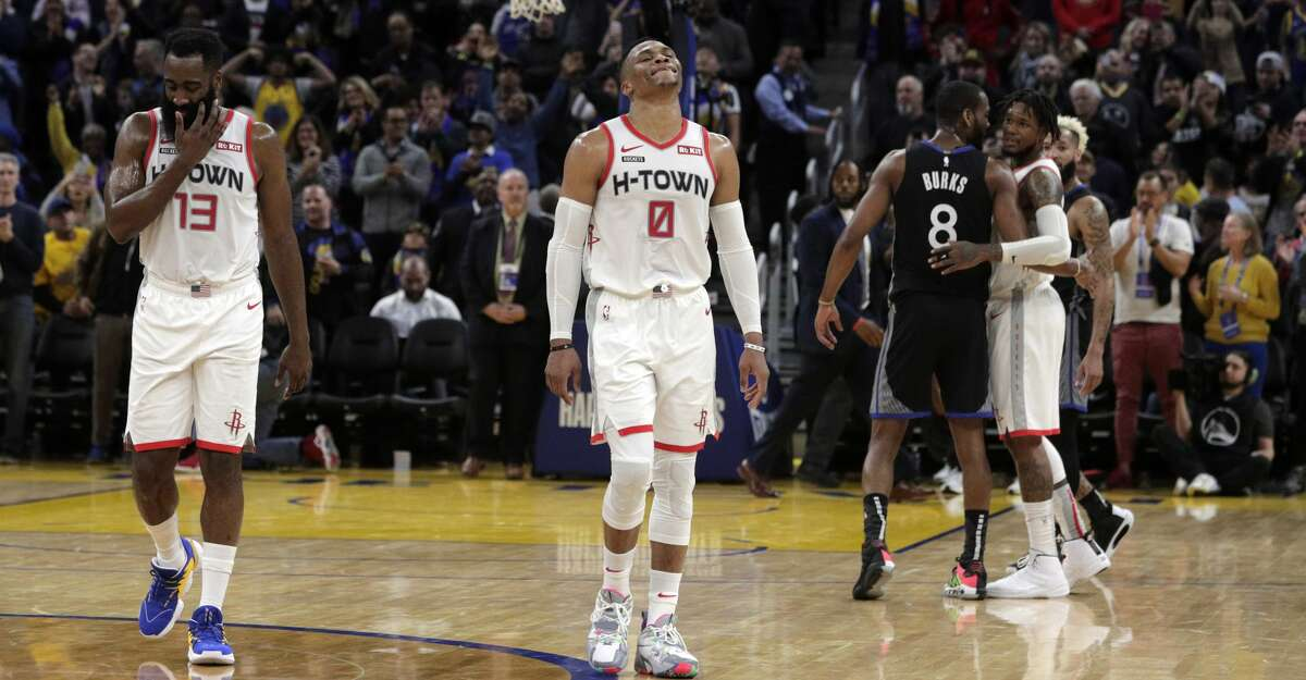 PHOTOS: Rockets game-by-game James Harden (13) and Russell Westbrook (0) walk off the court at the end of the game after the Golden State Warriors defeated the Houston Rockets 116-104 at Chase Center in San Francisco, Calif., on Wednesday, December 25, 2019. in the first half as the Golden State Warriors played the Houston Rockets at Chase Center in San Francisco, Calif., on Wednesday, December 25, 2019. Browse through the photos to see how the Rockets have fared in each game this season.