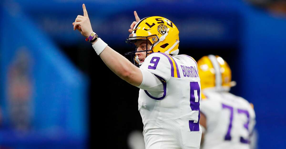 ATLANTA, GEORGIA - DECEMBER 28: Quarterback Joe Burrow #9 of the LSU Tigers celebratse during the game against the Oklahoma Sooners during the Chick-fil-A Peach Bowl at Mercedes-Benz Stadium on December 28, 2019 in Atlanta, Georgia. (Photo by Todd Kirkland/Getty Images)