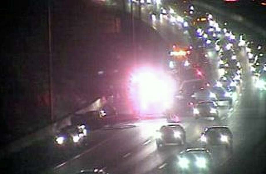 A screenshot of the CTDOT traffic camera shows congested traffic in the area of the vehicle fire on I-95 north in Greenwich, Conn., on Saturday, Dec. 28, 2019. Photo: Contributed Photo / CTDOT Traffic Camera