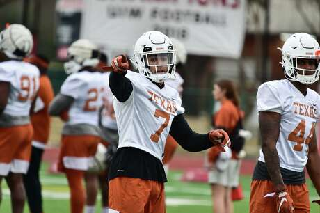 Texas Longhorn defensive back Caden Sterns directs teammates during practice at the University of the Incarnate Word's Benson Stadium Satrday morning in preparation for the Longhorn's New Years Eve Alamo Bowl game versus Utah.