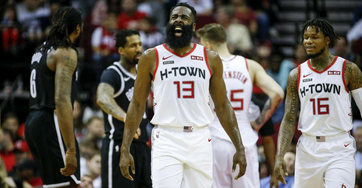 Houston Rockets guard James Harden (13) reacts during the first quarter of an NBA game at the Toyota Center on Saturday, Dec. 28, 2019, in Houston.