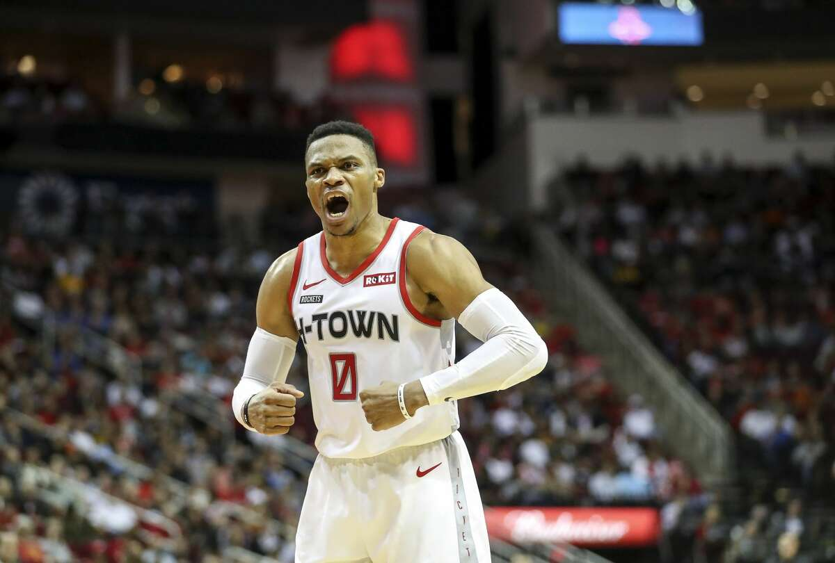 Houston Rockets guard Russell Westbrook (0) reacts to a call during the fourth quarter of an NBA game at the Toyota Center on Saturday, Dec. 28, 2019, in Houston.