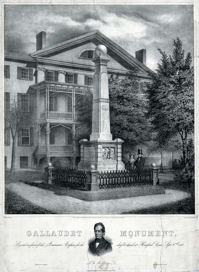 This circa 1855 lithograph made available by the Library of Congress shows a monument by Albert Newsam in front of the American School for the Deaf in Hartford, Connecticut. The school has begun restoring the 165-year-old monument that honors the schools founder, Thomas Gallaudet, and hopes to have the obelisk on its front lawn of its West Hartford campus by September. Photo: P.S. Duval & Co. | Library Of Congress Via AP