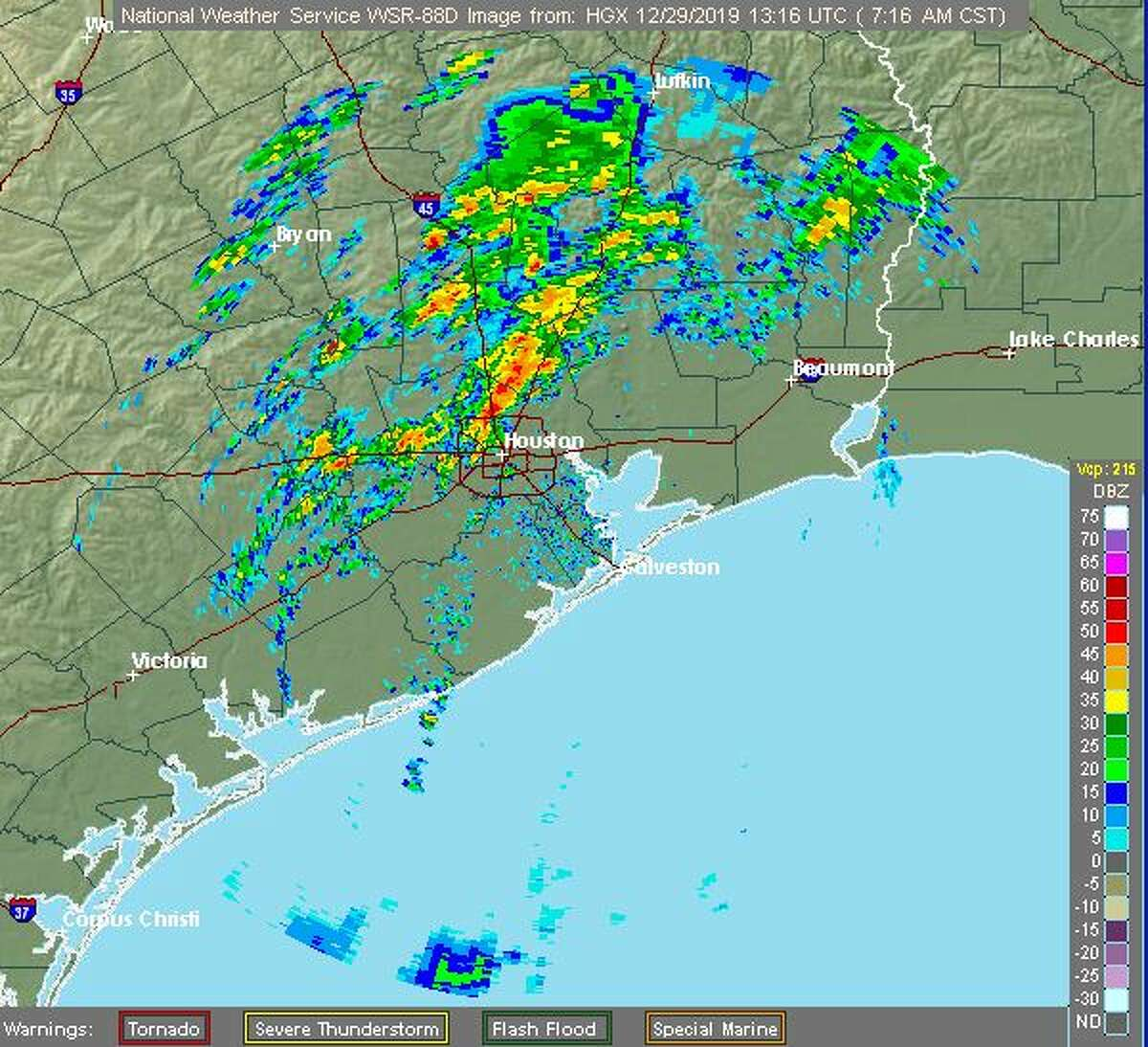 A cold front with showers and thunderstorms is expected to push through the Houston area Sunday morning.