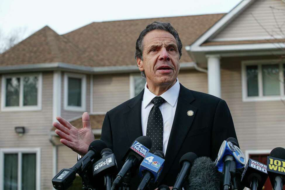 New York Governor Andrew Cuomo speaks to the media outside the home of rabbi Chaim Rottenbergin Monsey, in New York on December 29, 2019 after a machete attack that took place earlier outside the rabbi's home during the Jewish festival of Hanukkah in Monsey, New York. - An intruder stabbed and wounded five people at a rabbi's house in New York during a gathering to celebrate the Jewish festival of Hanukkah late on December 28, 2019, officials and media reports said. Local police departments, speaking to AFP, declined to give the number of people injured, but a suspect has been taken into custody and a vehicle safeguarded, an NYPD spokesman said. (Photo by Kena Betancur / AFP)