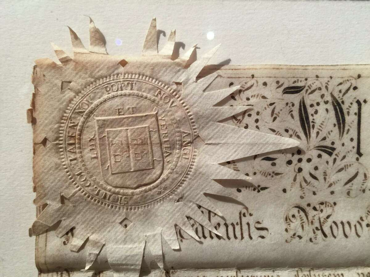 The seal of David Lambert's diploma from Yale, dated 1764, is part of the new exhibition at Wilton Historical Society.