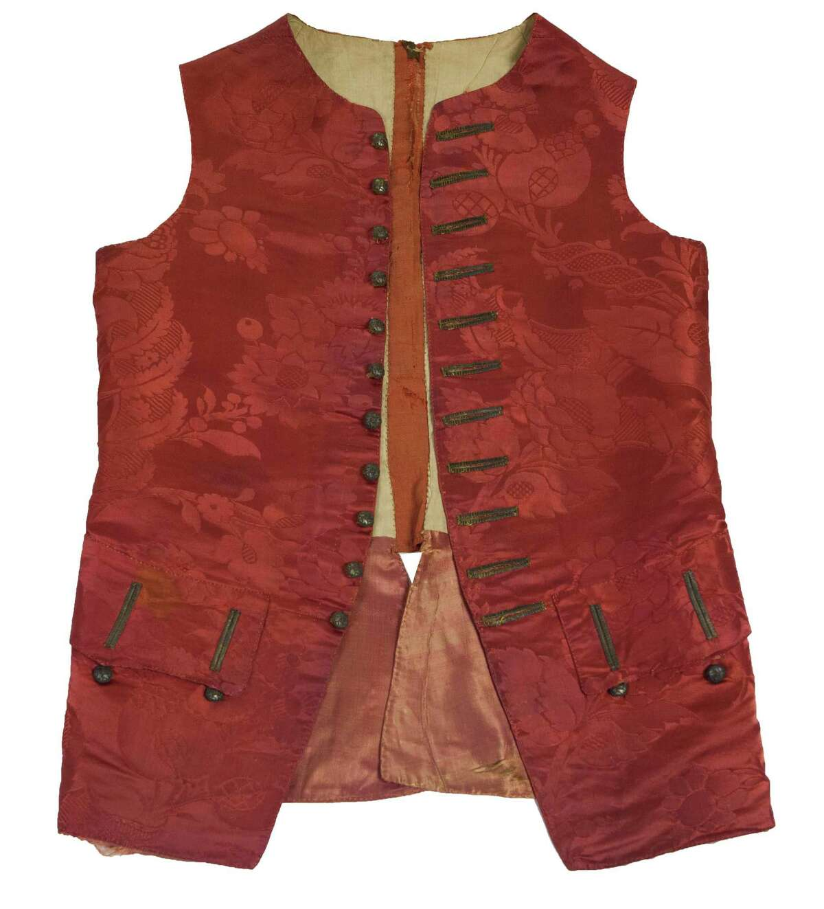 This crimson silk vest belonged to an E. Mott of Wilton and is part of the new exhibition at Wilton Historical Society.