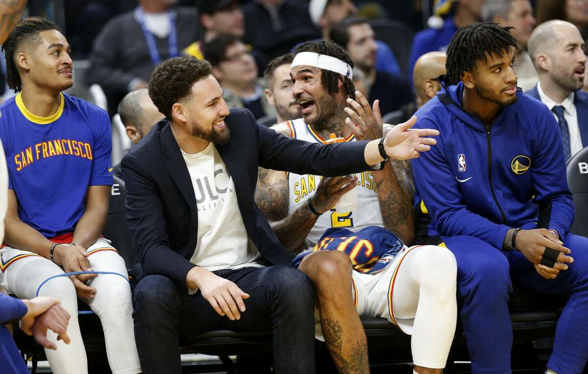 Golden State Warriors' Klay Thompson gestures from the bench in the third quarter against the Minnesota Timberwolves at the Chase Center in San Francisco, Calif., on Monday, Dec. 23, 2019.