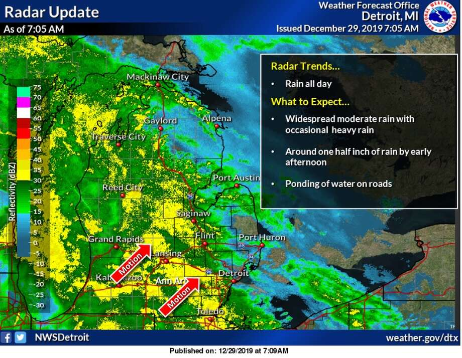 The National Weather Service issued a flood watch for southeast Michigan on Sunday, Dec. 29 into Monday morning. (Screenshot of the National Weather Service website) Photo: Photo Provided