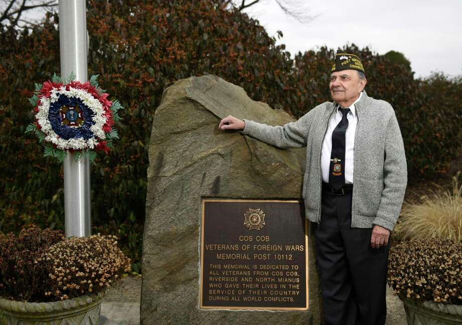 Veterans of Foreign War Post 10112 Service Officer Tony Marzullo poses at the VFW Post 10112 Memorial Park in Cos Cob last December. First Selectman Fred Camillo recently honored him with Tony Marzullo Day in Greenwich. Photo: Tyler Sizemore / Hearst Connecticut Media / Greenwich Time