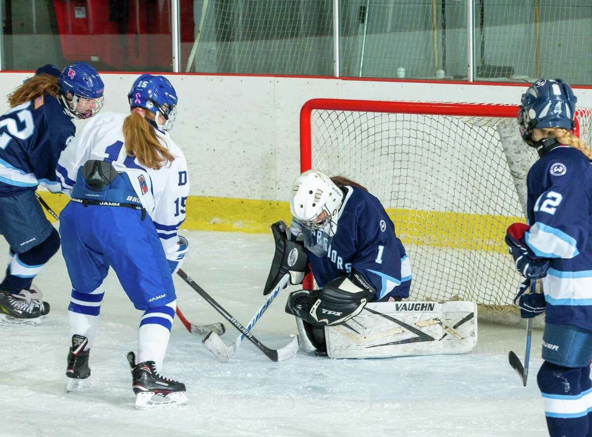 Goalie Erin McMorris (shown in a game last season) and the Wilton girls hockey team got a rare win over Ridgefield last Friday.