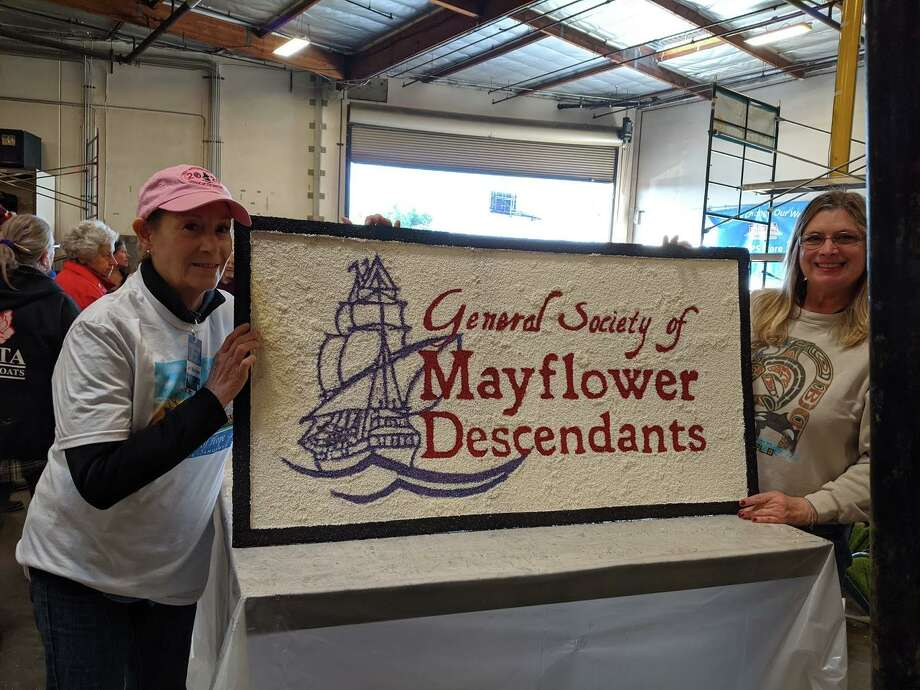 Darien's Carol Wilder Tamme, who had ancestors on the Mayflower, was selected to ride on the Rose Parade float on New Year's Day. This year's DAR essay contest prompted students to write about what they would do on the Mayflower. Photo: Courtesy Carol Wilder Tamme