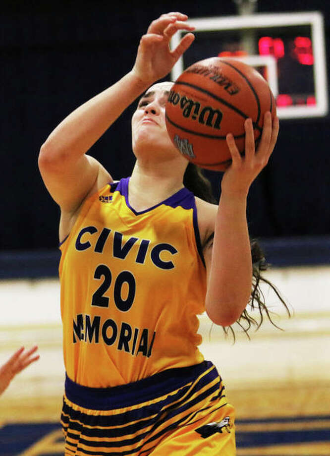 CM's Anna Hall scored 14 points, but the Eagles sustained their first defeat of the season Saturday night to Chicago Marist at the State Farm Classic in Normal. Photo: Greg Shashack / The Telegraph