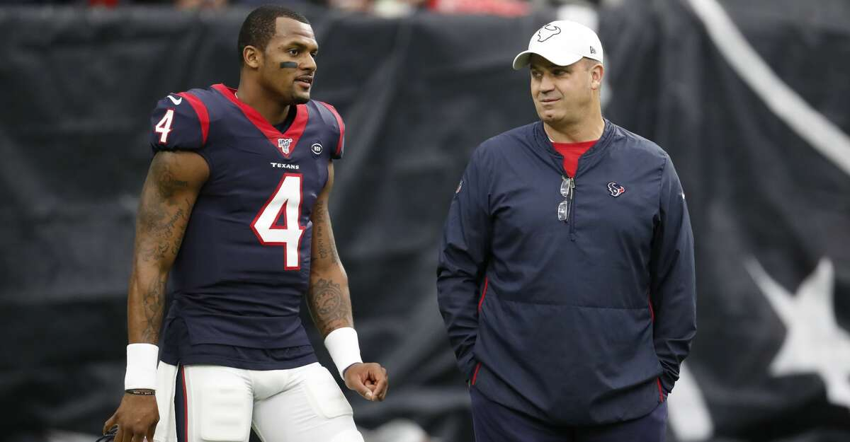 PHOTOS: Texans backups fall to Titans 35-14 in season finale Houston Texans quarterback Deshaun Watson (4) and head coach Bill O'Brien talk on the field before an NFL football game against the Tennessee Titans at NRG Stadium on Sunday, Dec. 29, 2019, in Houston.