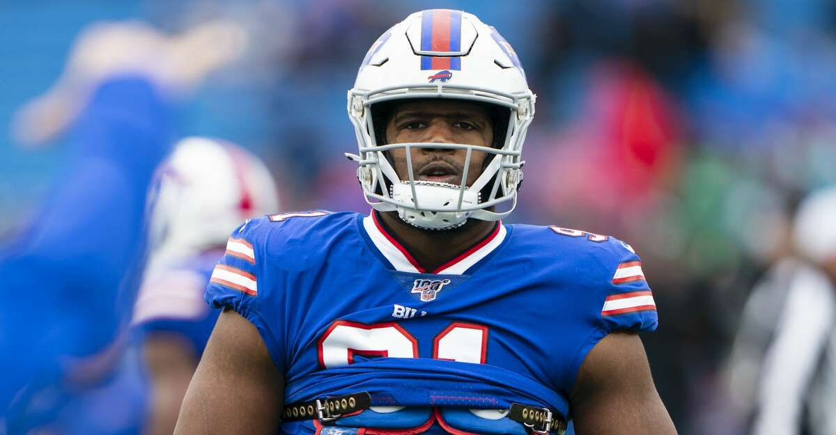 ORCHARD PARK, NY - OCTOBER 27: Buffalo Bills Defensive Tackle Ed Oliver (91) prior to the National Football League game between the Philadelphia Eagles and the Buffalo Bills on October 27, 2019, at New Era Field in Orchard Park, NY. (Photo by Gregory Fisher/Icon Sportswire via Getty Images)