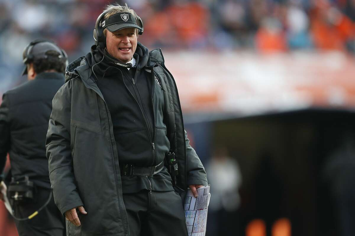 Oakland Raiders head coach Jon Gruden looks on during the first half of an NFL football game against the Denver Broncos, Sunday, Dec. 29, 2019, in Denver. (AP Photo/David Zalubowski)