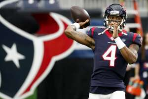 Houston Texans quarterback Deshaun Watson (4) warms up before an NFL football game against the Tennessee Titans at NRG Stadium on Sunday, Dec. 29, 2019, in Houston.