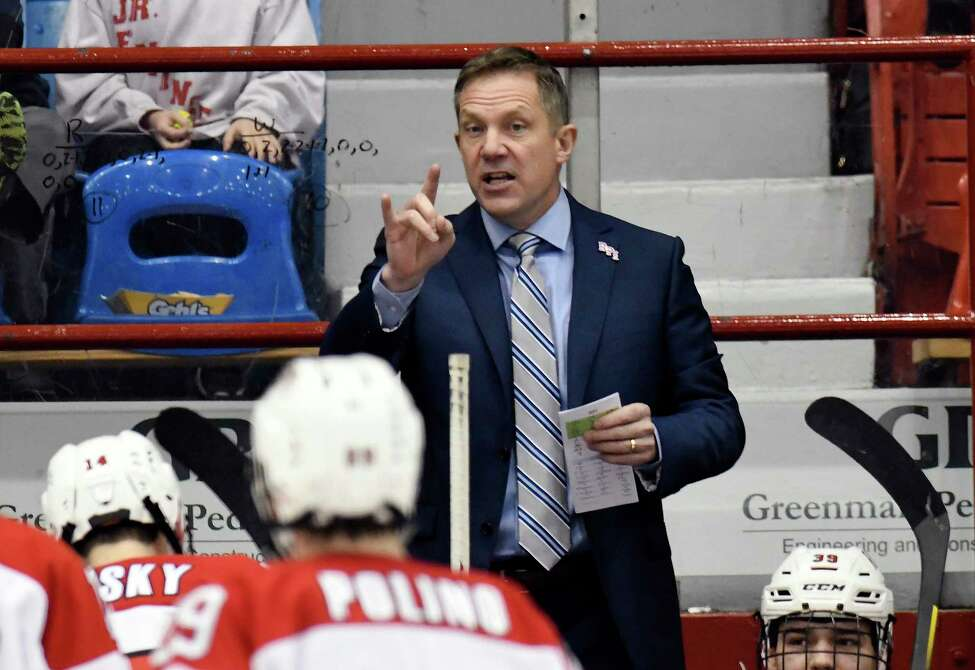 Rensselaer Polytechnic Institute head coach Dave Smith instructs his players against Massachusetts during the second period of an NCAA college hockey game Sunday, Dec. 29, 2019, in Troy, N.Y. (Hans Pennink / Special to the Times Union) ORG XMIT: 123019_rpi_HP108