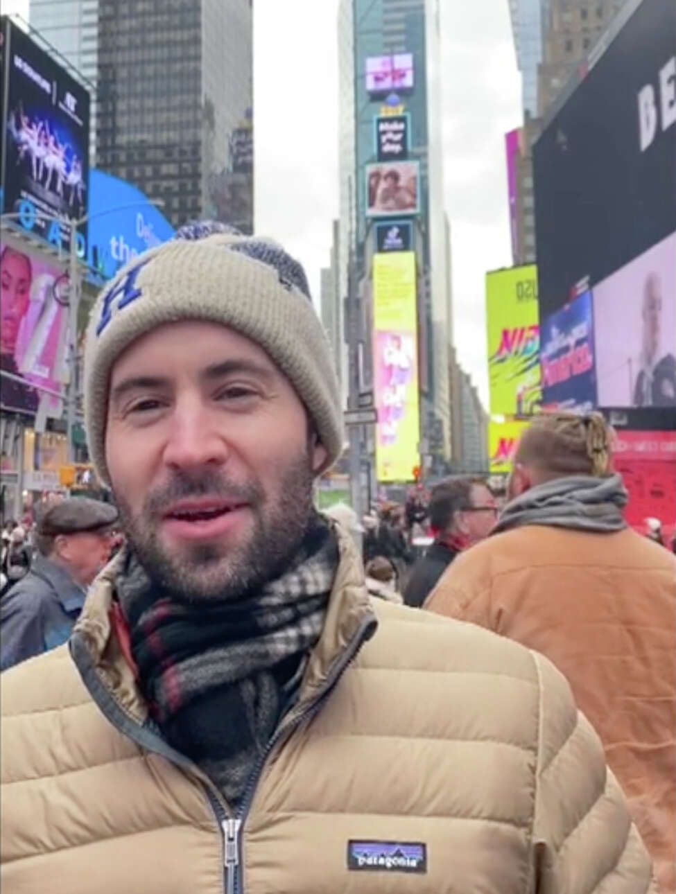 Jared Fox in Times Square filming a video about climate change for the Times Square Alliance, which will honor Fox during the big bash Tuesday during the ball drop on New Year's Eve. (Provided)