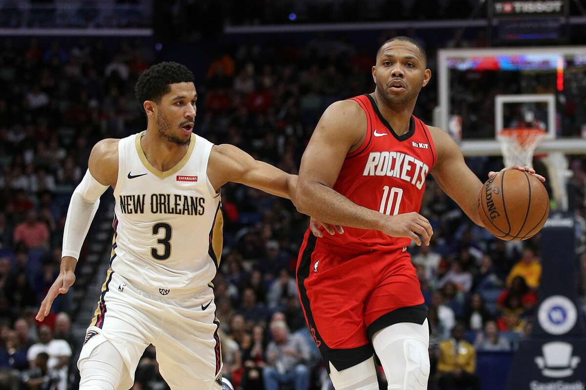 NEW ORLEANS, LOUISIANA - DECEMBER 29: Eric Gordon #10 of the Houston Rockets drives the ball around Josh Hart #3 of the New Orleans Pelicans at Smoothie King Center on December 29, 2019 in New Orleans, Louisiana. (Photo by Chris Graythen/Getty Images)