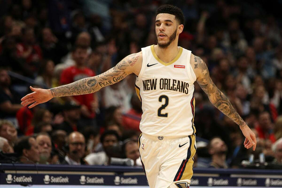 NEW ORLEANS, LOUISIANA - DECEMBER 29: Lonzo Ball #2 of the New Orleans Pelicans reacts during the game against the Houston Rocketsat Smoothie King Center on December 29, 2019 in New Orleans, Louisiana. NOTE TO USER: User expressly acknowledges and agrees that, by downloading and/or using this photograph, user is consenting to the terms and conditions of the Getty Images License Agreement. (Photo by Chris Graythen/Getty Images)