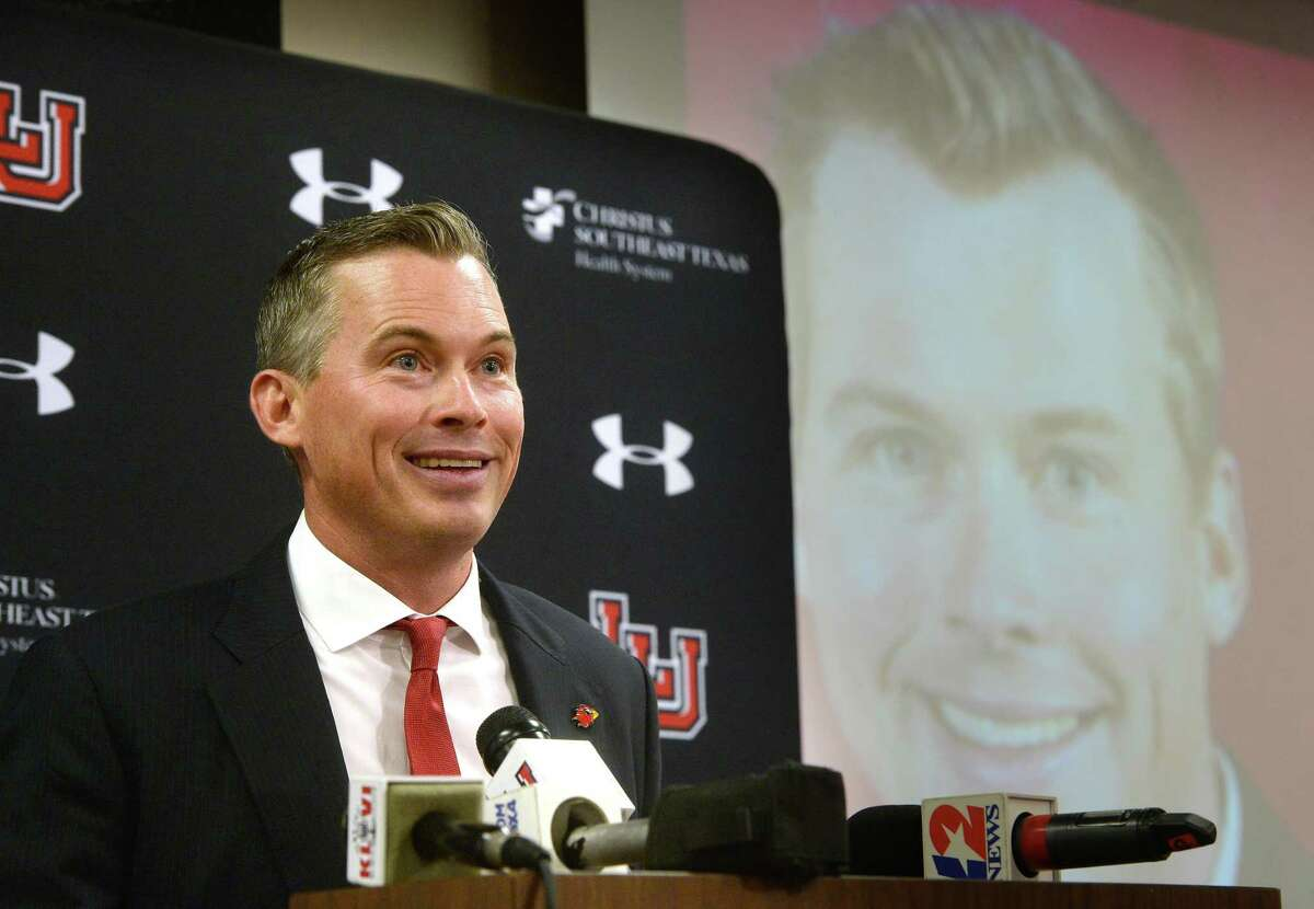 Lamar's new head football coach Blane Morgan talks about his goals for the program during an introduction event held at the Dauphin Center Friday. Morgan accepted the position Thursday. Photo taken Friday, December 13, 2019 Kim Brent/The Enterprise