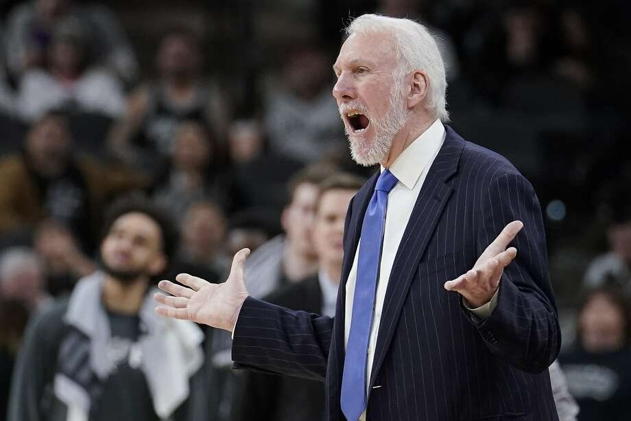 San Antonio Spurs coach Gregg Popovich yells at a referee during the second half of the team's NBA basketball game against the Brooklyn Nets, Thursday, Dec. 19, 2019, in San Antonio. San Antonio won 118-105. (AP Photo/Darren Abate) Photo: Darren Abate / Associated Press