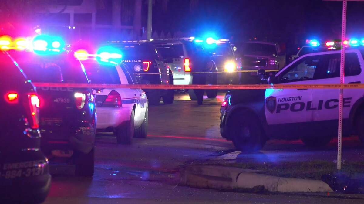 Houston and Pasadena police officials investigate a deadly officer-involved shooting that left a young man dead in the 5700 block of Pershing Street on Monday, Dec. 30, 2019.