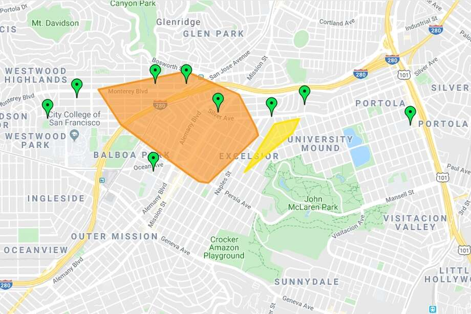 The power was out in a portion of San Francisco's southern end Monday morning. Photo: PG&E