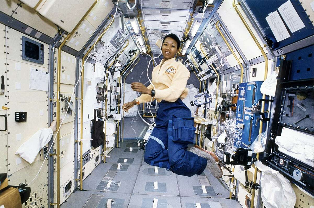 NASA Astronaut Mae Jemison is pictured onboard the Space Shuttle Endeavour working in the Spacelab-J module. Jemison became the first woman of color to go into space on Sept. 12, 1992.
