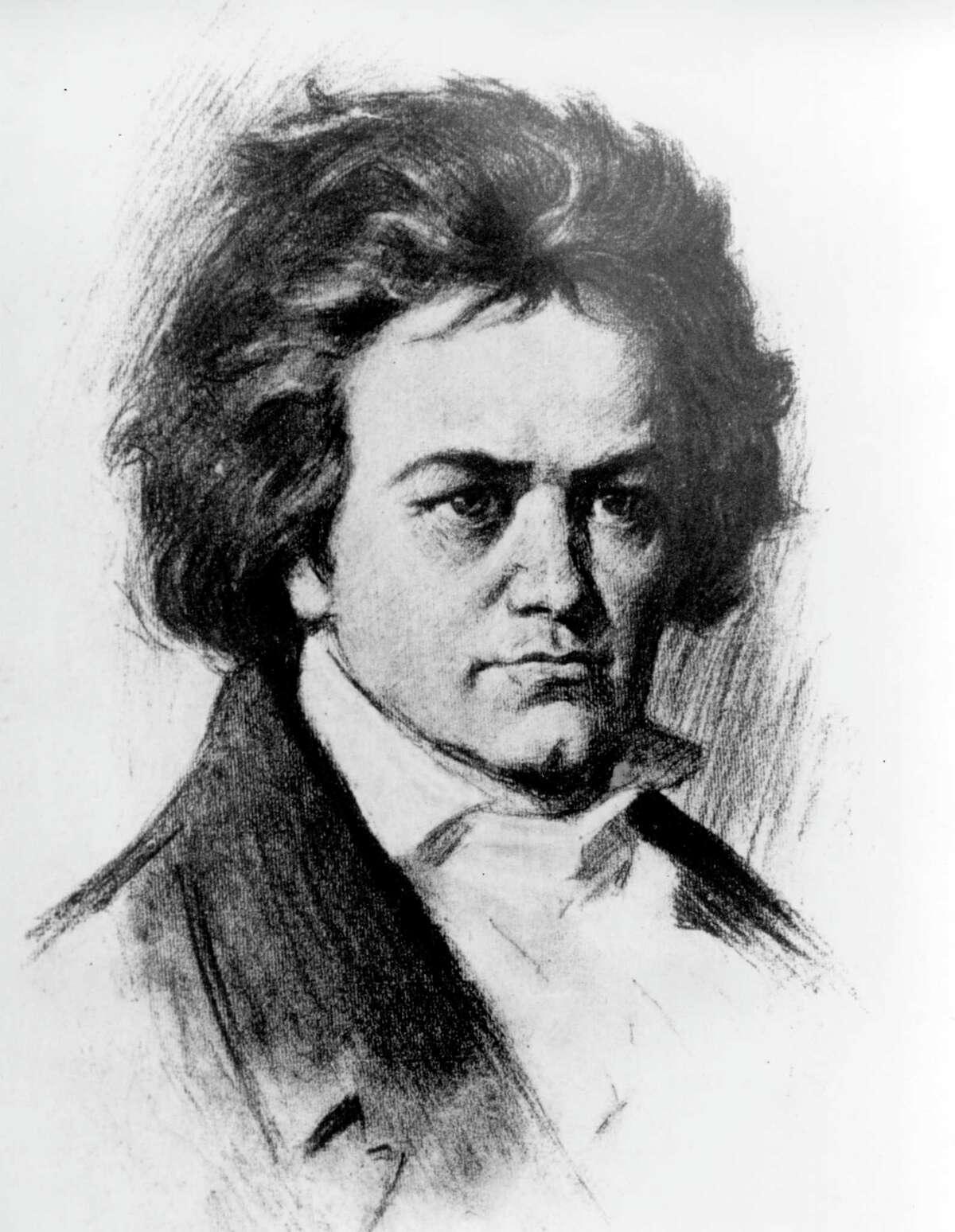 This is an undated sketch of German composer Ludwig van Beethoven.