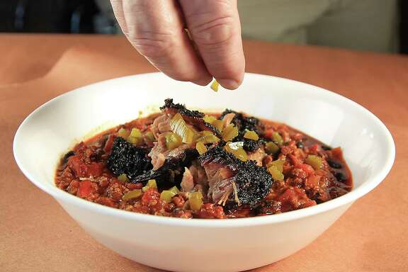 Brisket chili is a popular menu item in the winter at barbecue restaurants throughout Texas.