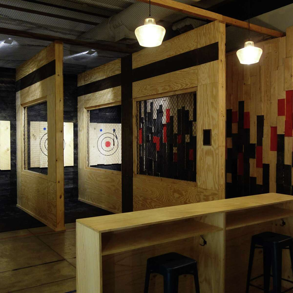 A view of the West Range at Pine & Iron Axe Throwing on Chapel Street in New Haven.