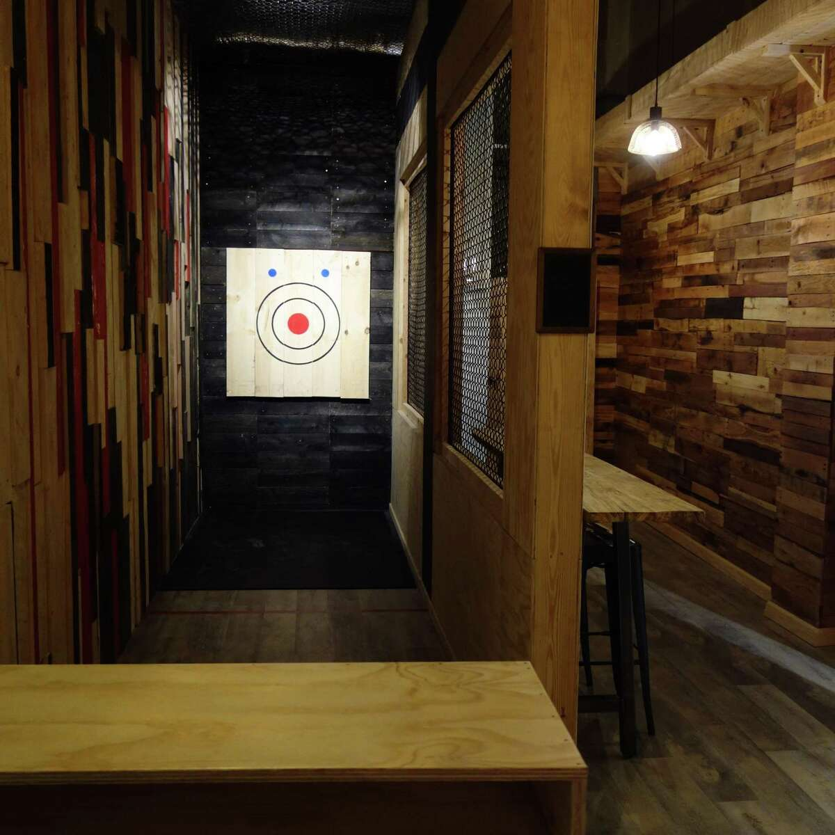 The Event Room range at Pine & Iron Axe Throwing on Chapel Street in New Haven.