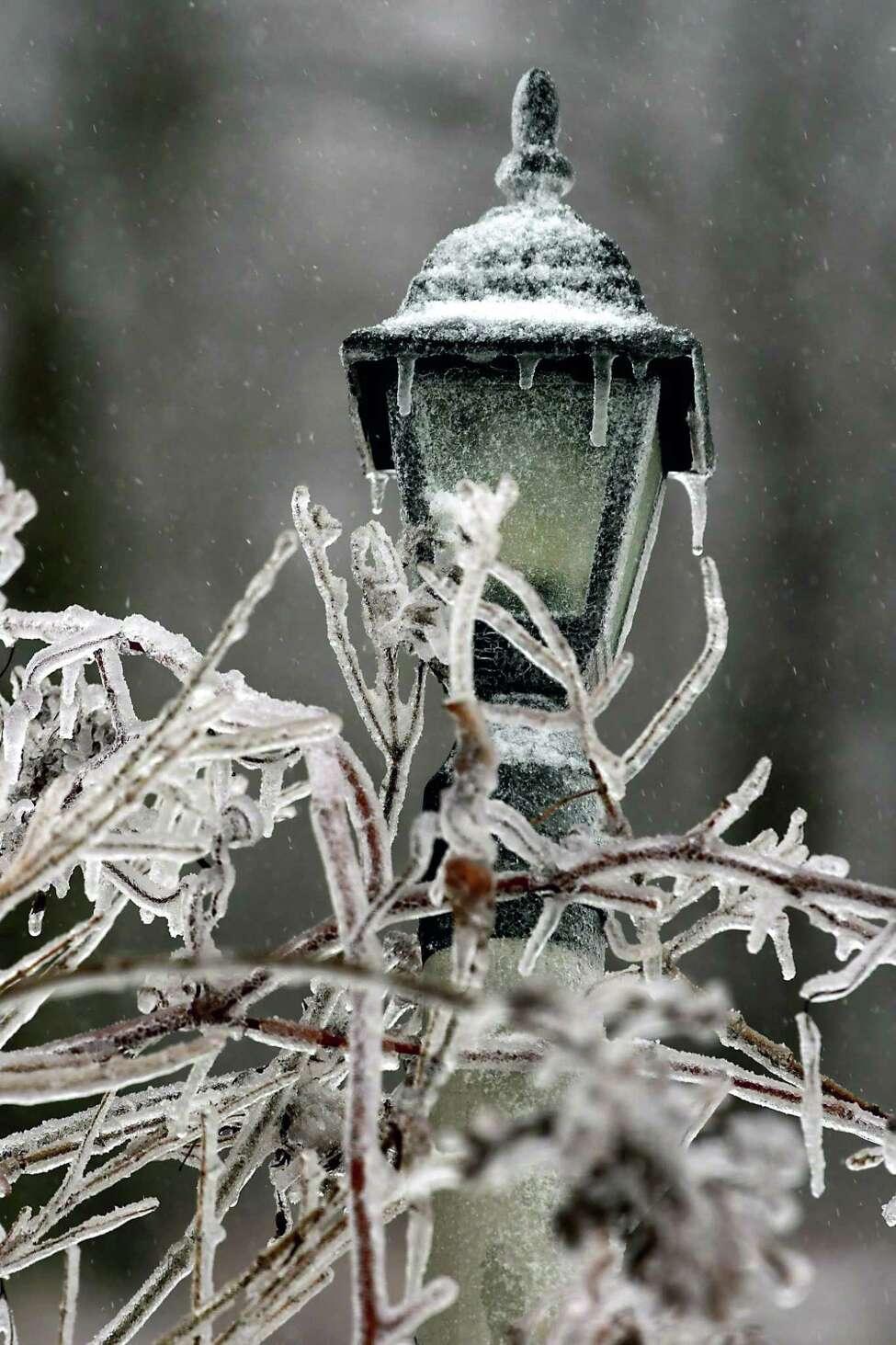 Branches and a light post are covered in ice during an ice storm in the hill towns on Monday, Dec. 30, 2019 in Altamont, N.Y. (Lori Van Buren/Times Union)