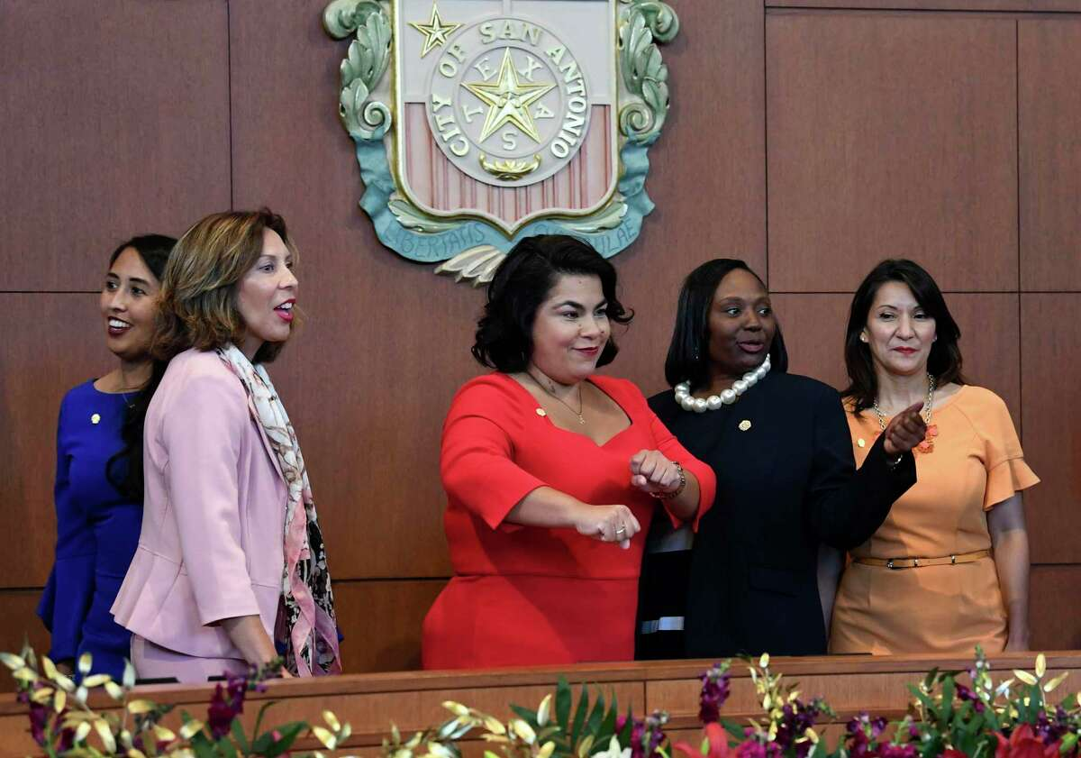 City Councilwoman Rebecca Viagran middle, dances in celebration with other councilwoman; Adriana Rocha Garcia, left, Shirley Gonzales, second from left, Jada Andrews-Sullivan, second from right, and Melissa Cabello Havrda before an inauguration ceremony for members of San Antonio's new City Council on Wednesday, June 19, 2019. Eight incumbents returned, and three new members - Andrews-Sullivan, Rocha Garcia and Cabello Havrda, help form the second female-majority City Council in San Antonio's history.