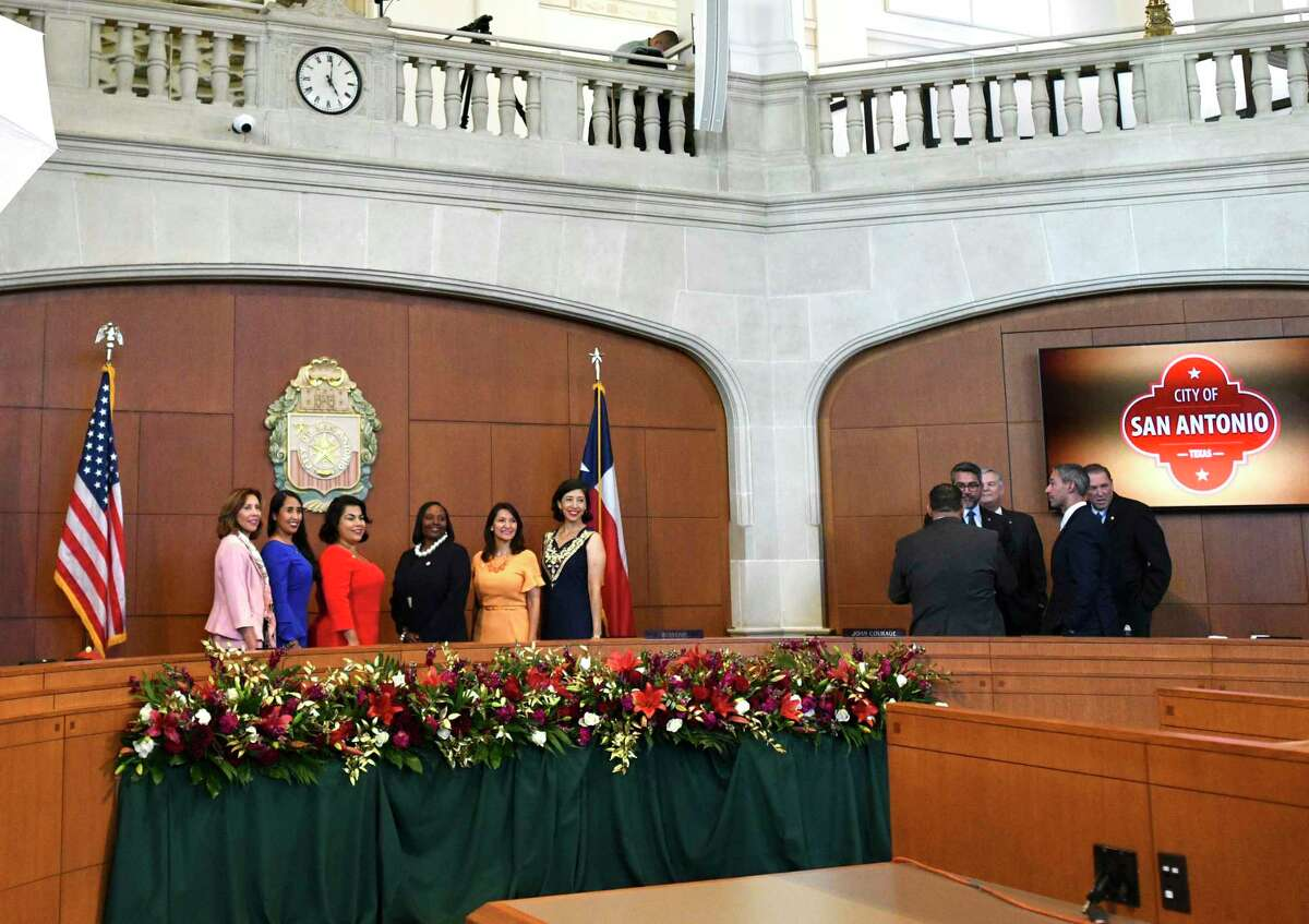 Female members of San Antonio's new City Council include, from left, Shirley Gonzales, Adriana Rocha Garcia, Rebecca Viagran, Jada Andrews-Sullivan, Melissa Cabello Havrda and Ana Sandoval. They gather for a picture as the male members stand aside during an inauguration ceremony on Wednesday, June 19, 2019.