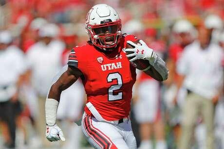 FILE - In this Sept. 14, 2019, file photo, Utah running back Zack Moss