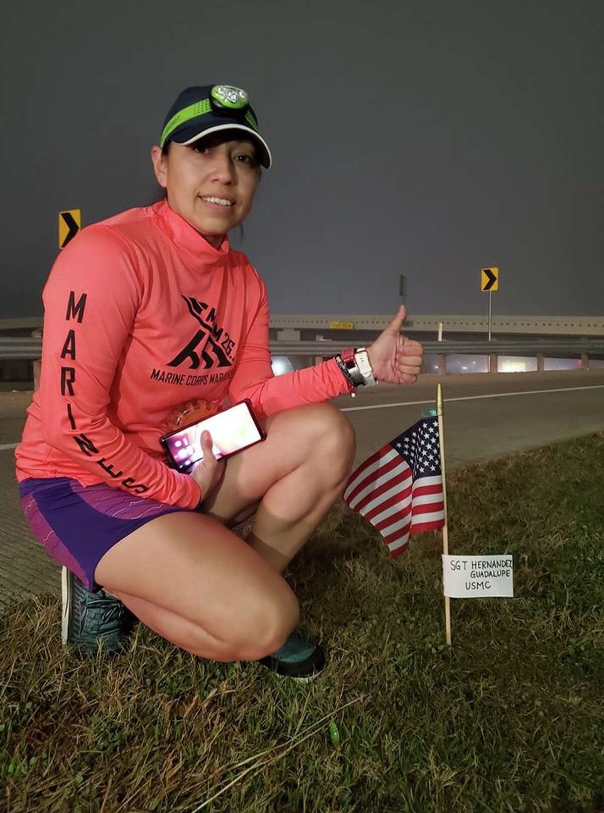 Lupita Hernandez is honoring fellow vets who have suffered from PTSD this week by running 200 miles from Houston to San Antonio, planting a roadside flag every mile in memory of a vet who has fought the disorder.