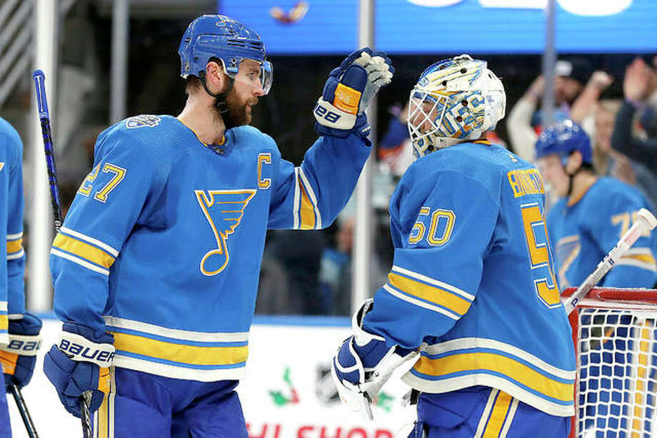 The Blues' Alex Pietrangelo, left, and goaltender Jordan Binnington have been named to the NHL All-Star team, along with teammate Ryan O'Reilly. Above, Pietrangelo and Binnington celebrate a 4-3 victory over the Chicago Blackhawks Dec. 14, 2019 in St. Louis. Photo: AP Photo