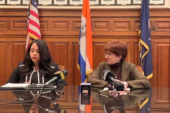 From right, Albany Mayor Kathy Sheehan announces the appointment of Sonia Frederick to the city Common Council's First Ward on Monday, Dec. 30, 2019. (Amanda Fries / Times Union)