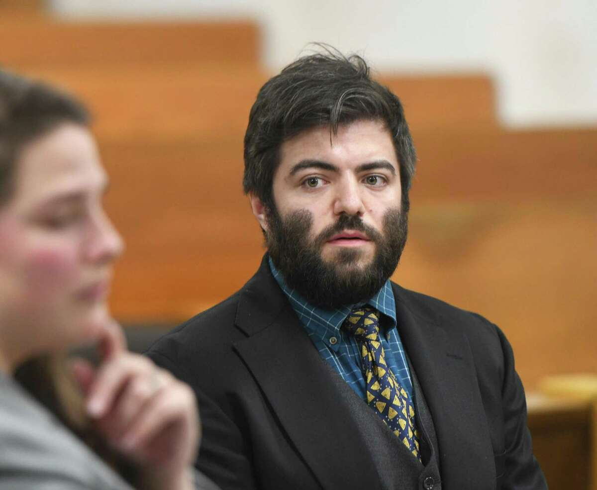 Westport's TJ Elgin, 30, is arraigned on a breach of peace charge at the Connecticut Superior Court in Norwalk, Conn. Monday, Dec. 30, 2019. Elgin was arrested Dec. 21 for allegedly interfering with an officer after he was mistaken for a burglar because he had misplaced the keys to his home. He claims that Westport police used excessive force and has linked the arrest to the recent announcement that he intends to challenge U.S. Rep. Jim Himes in the upcoming election.