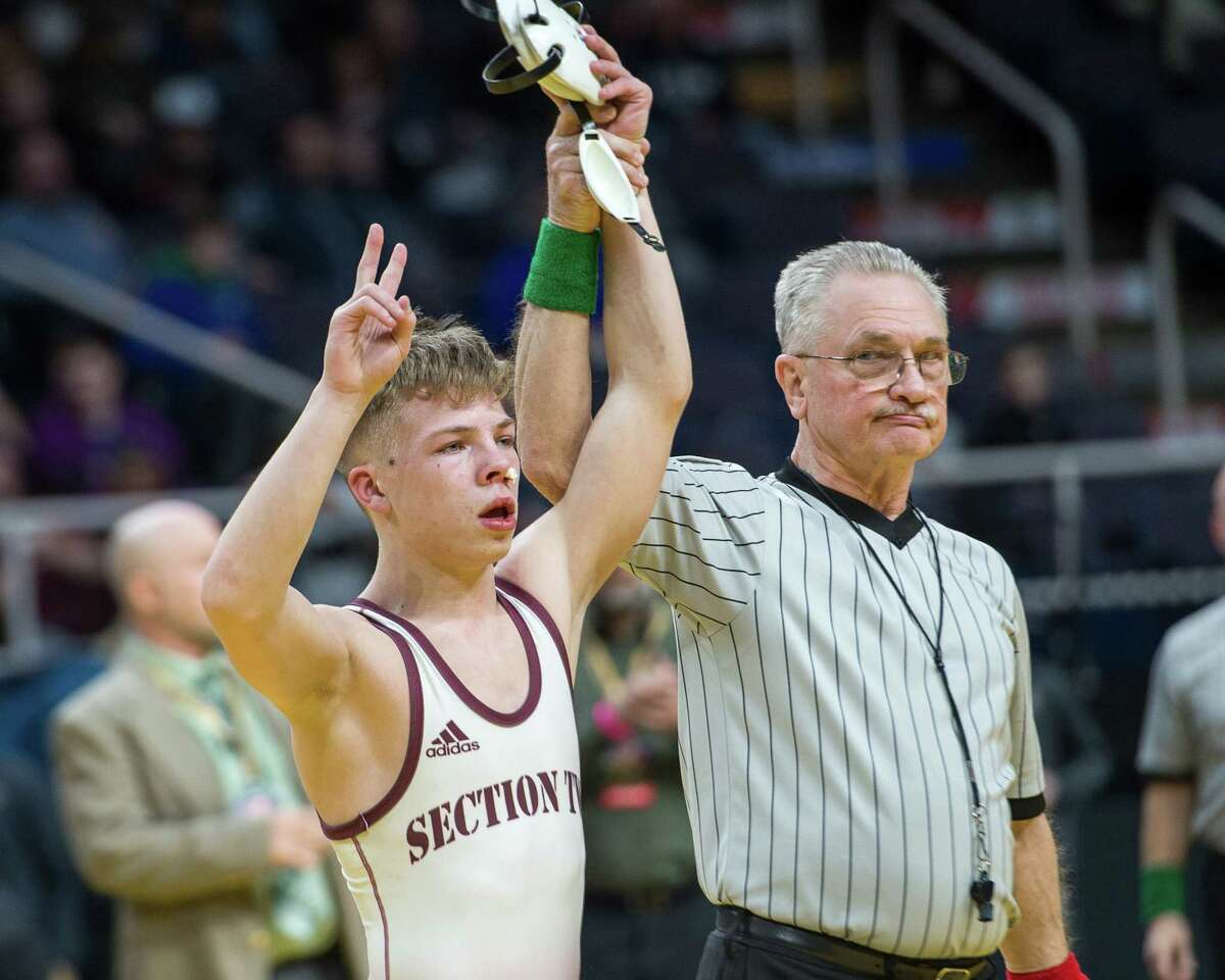 Shenendehowa sophomore Stevo Poulin is the Division I, 106-pound class New York State Wrestling Championship after beating Zack Ryder, of Section IX Minisink Valley, at the Times Union Center on Saturday, Feb. 23, 2019. (Jim Franco/Special to the Times Union)
