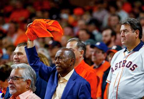 Houston mayor Sylvester Turner cheers during the seventh inning of Game 1 of the World Series at Minute Maid Park in Houston on Tuesday, Oct. 22, 2019.