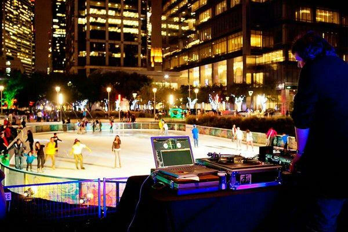 Funfetti Fridays feature ice-skating fun with a live DJ and colored lights at Discovery Green.